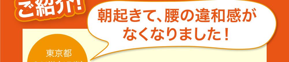 朝起きて、腰の違和感がなくなりました! 東京都 S.N様(45歳)女性