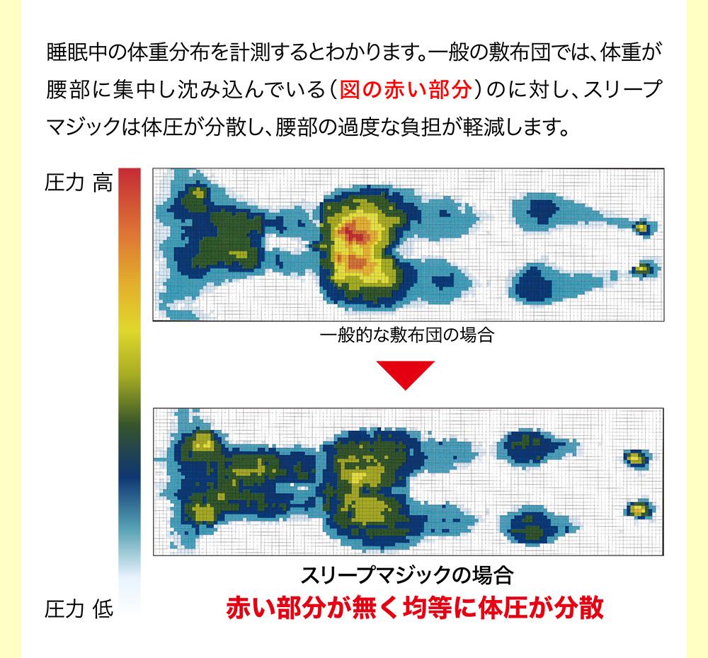 睡眠中の体重分布を計測するとわかります。一般の敷布団では、体重が腰部に集中し沈み込んでいる(図の赤い部分)のに対し、スリープマジックは体圧が分散し、腰部の過度な負担が軽減します。