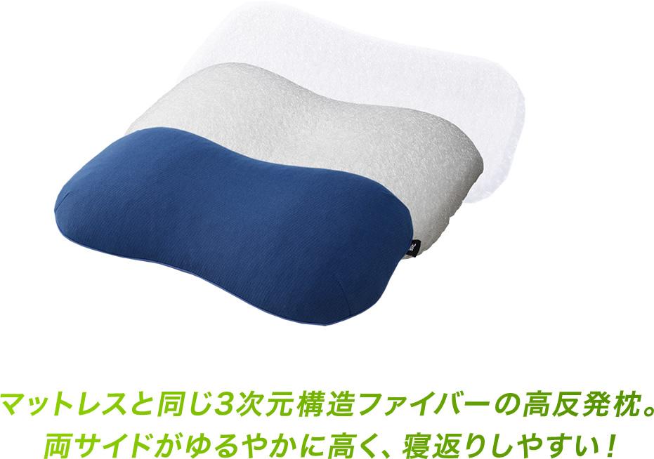 マットレスと同じ3次元構造ファイバーの高反発枕。両サイドがゆるやかに高く、寝返りしやすい!