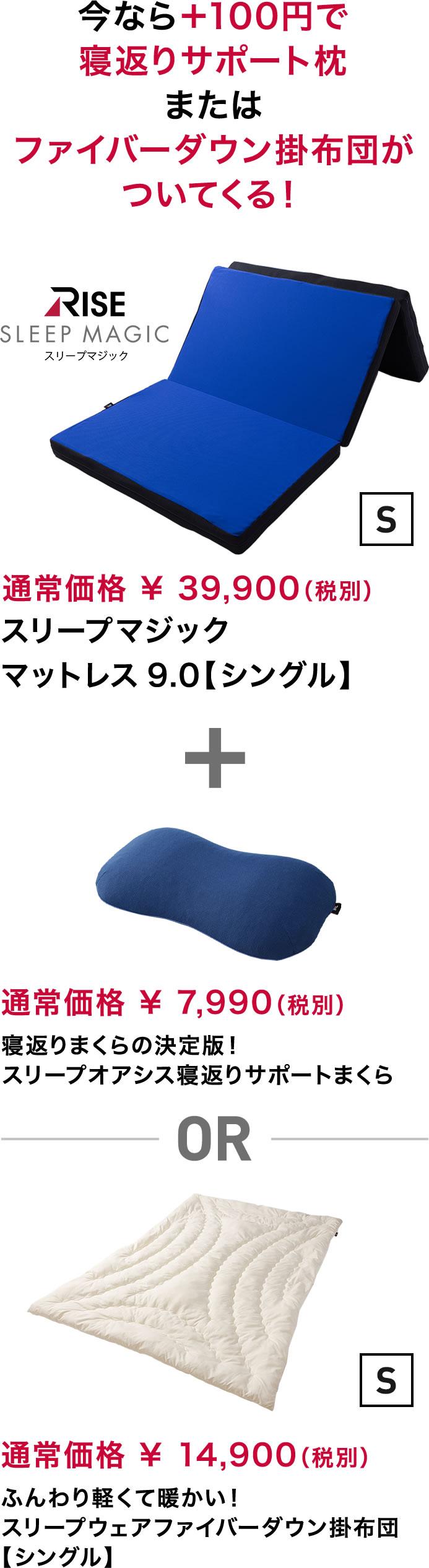 今なら+100円で寝返りサポート枕またはファイバーダウン掛布団がついてくる!